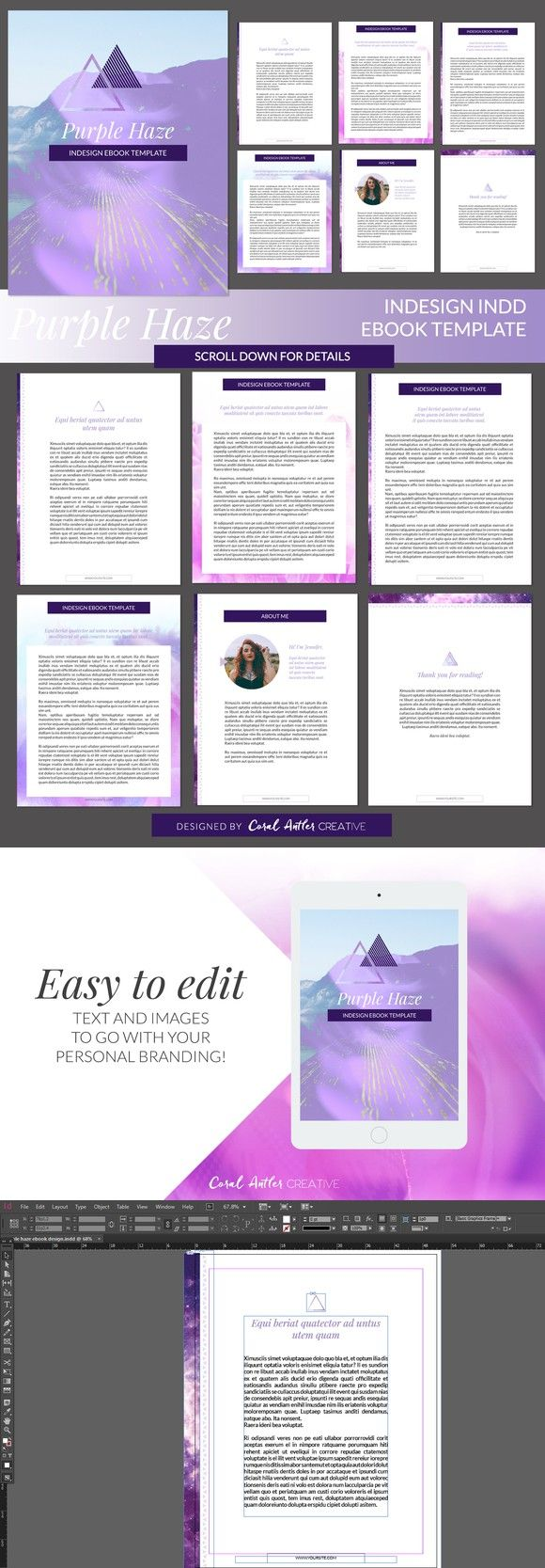 Purple Haze InDesign Ebook Template | Pinterest | Presentation ...
