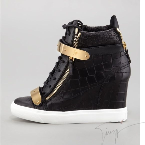 ede2be85cd248 Giuseppe Zanotti Black Leather Wedge Sneakers 37 Authentic Women Giuseppe  Zanotti Design Black Wedge Heeled Fashion Sneakers. Croc Embossed Black  Leather ...