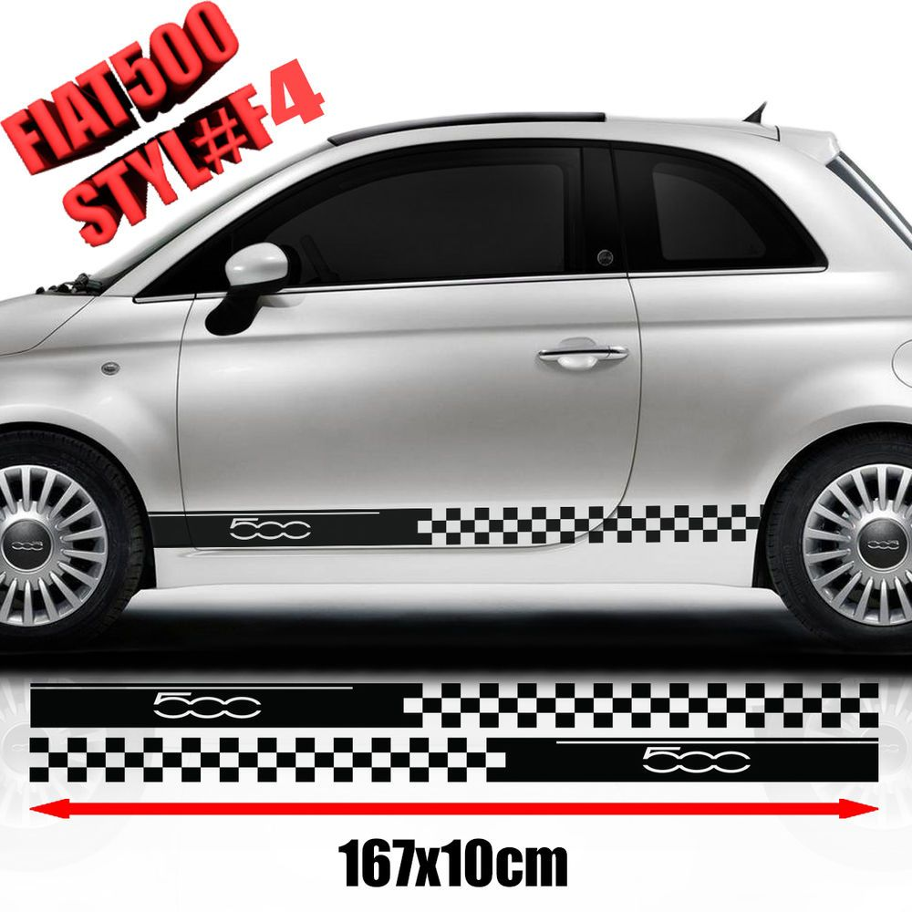 Viva car sticker design - Details About Fiat 500 Abarth Side Cars Racing Stripes Decals Graphics Size 167x10 Cm