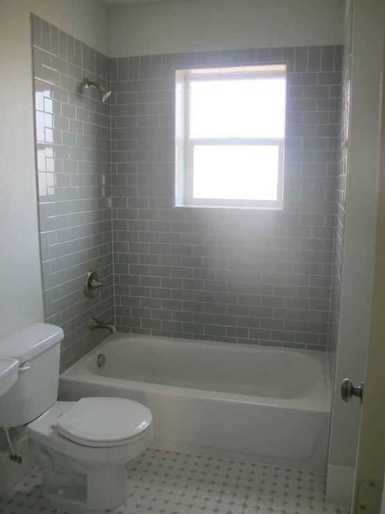 Gray Subway Tile Contemporary Bathroom White Gold Design Bathrooms Remodel Bathroom Makeover Tile Bathroom