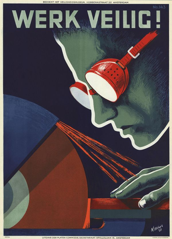 cartazes holandeses feitos para alertar dos riscos de acidentes no trabalho