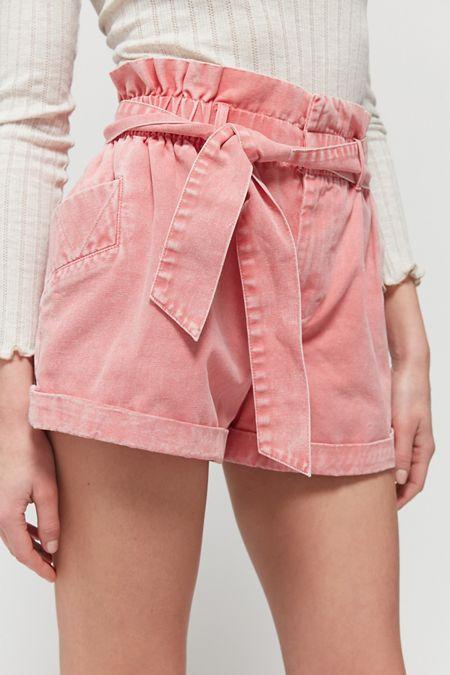 Ivory White High Waist Paper Bag Designer Belted Cotton Summer Shorts 10