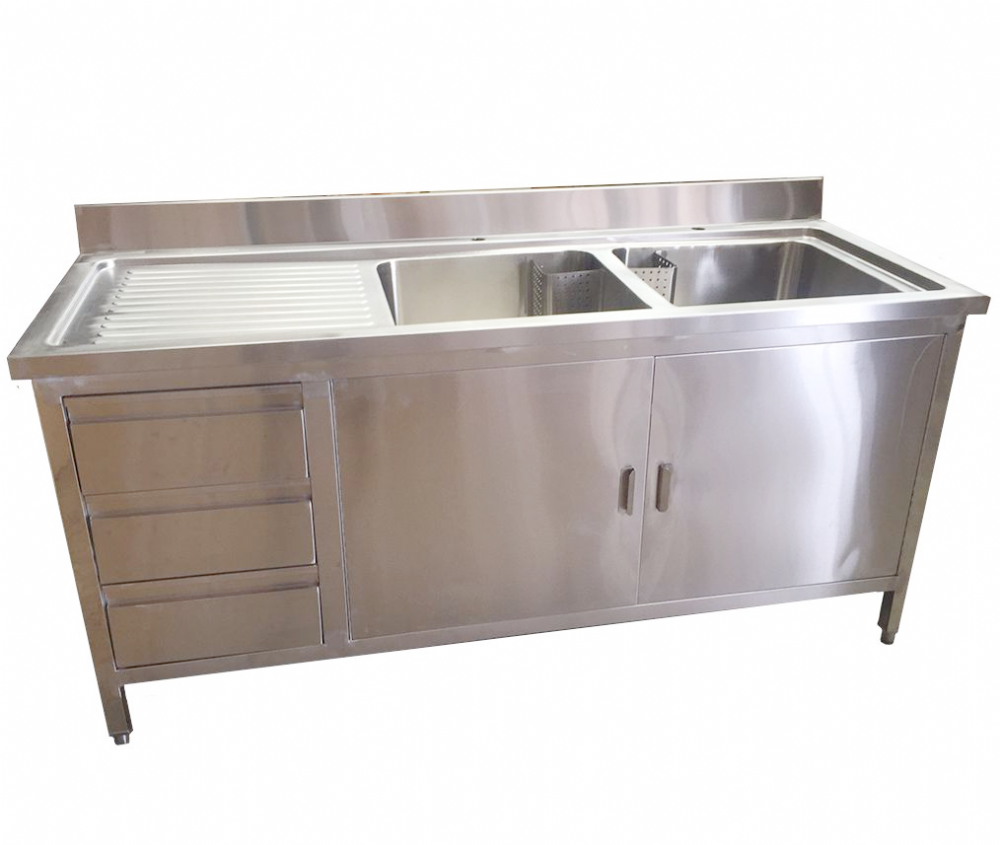 1 8m Commercial Stainless Steel Double Sink With Cupboard And