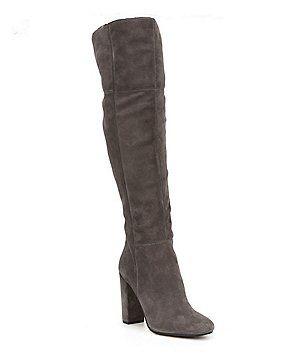 0014d68fa5a Gianni Bini Ventah Suede Block Heel Narrow Calf Over The Knee Boots ...