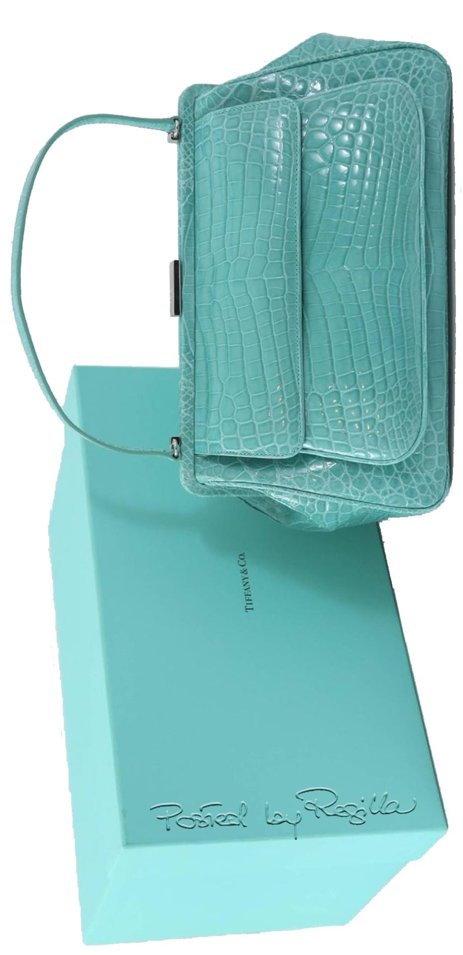 "d1f1e8443 Regilla ⚜ Tiffany & Co. ""Laurelton"" Crocodile Handbag in Tiffany Blue"