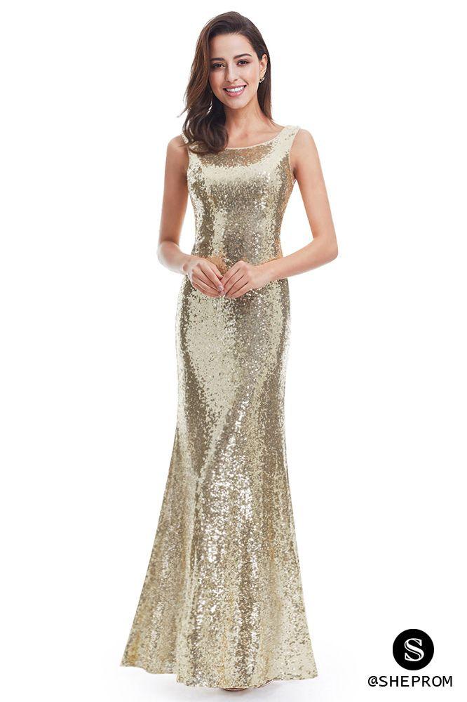 Women s Gold Long Open Back Sequin Prom Party Dresses -  74 ... b41d112d0