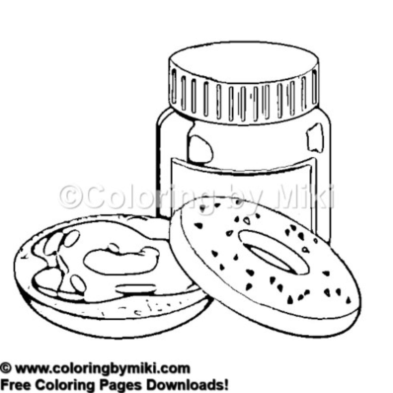 Breakfast Bagle Coloring Page 565 Freeprintable Coloring