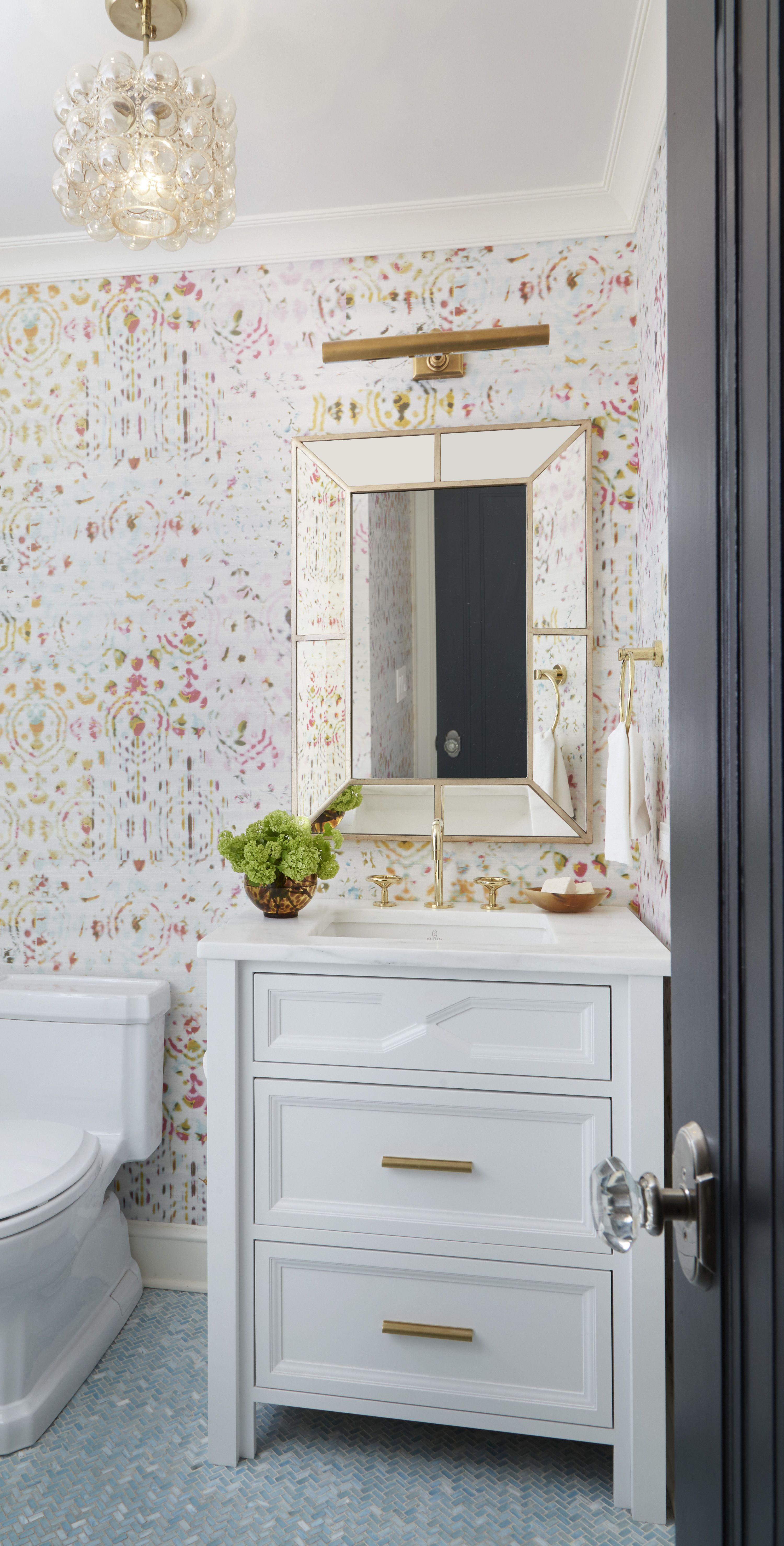 Power Room with Eclectic Wallpaper and Brass Finishes by Amy ...