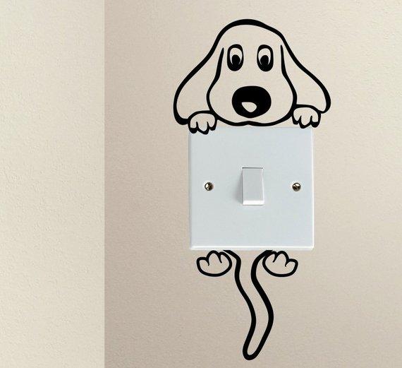 Cute Dog Cartoon Doggy Puppy Baby Pet Light Switch Funny Vinyl Love