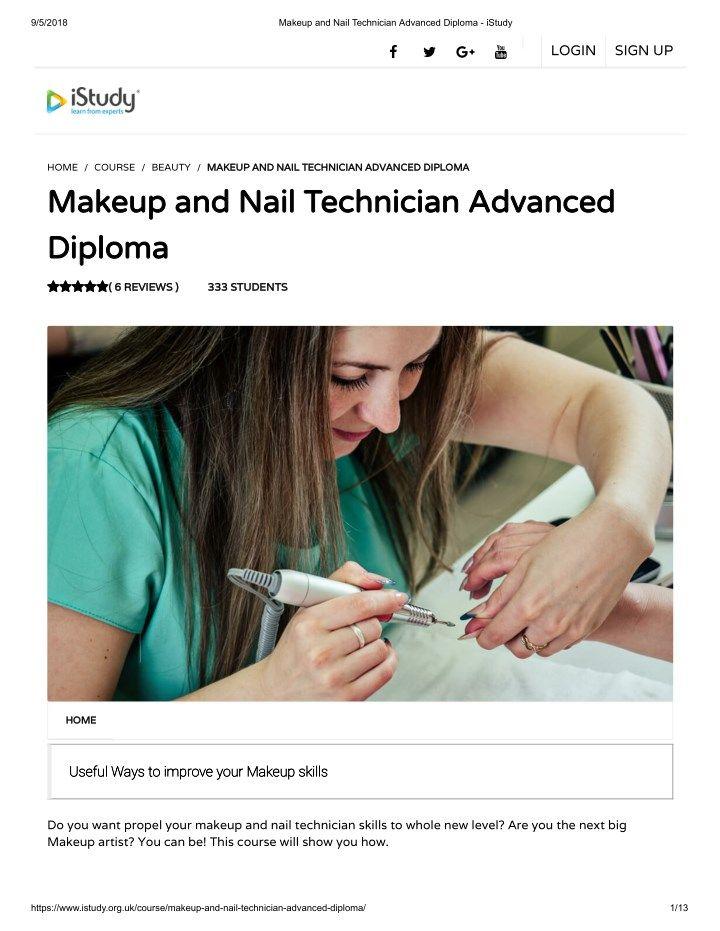 Makeup and nail technician advanced diploma istudy