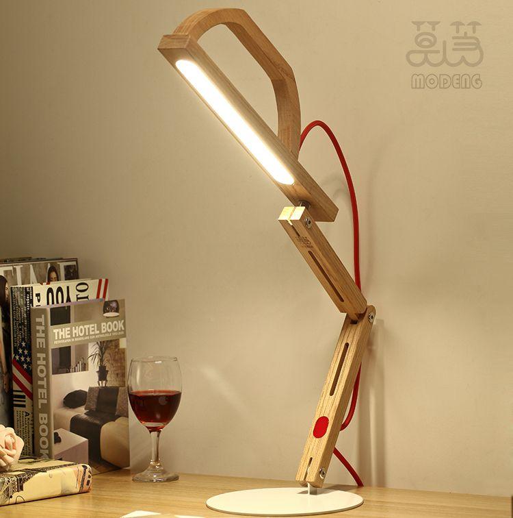 Lampara de escritorio de madera buscar con google m - Lamparas con madera ...