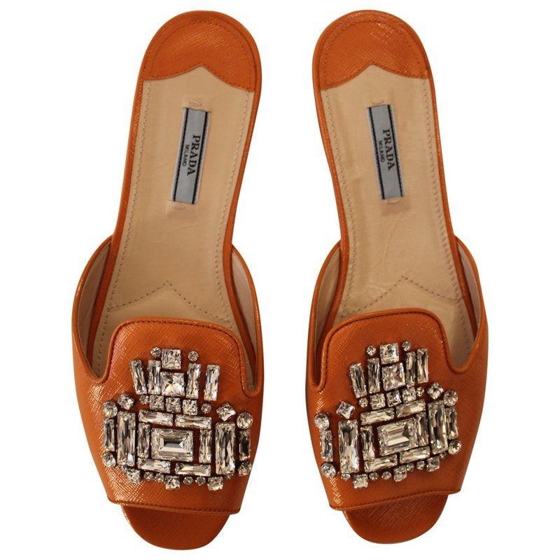2dacca82b860 orange Plain Leather PRADA Sandals - Vestiaire Collective