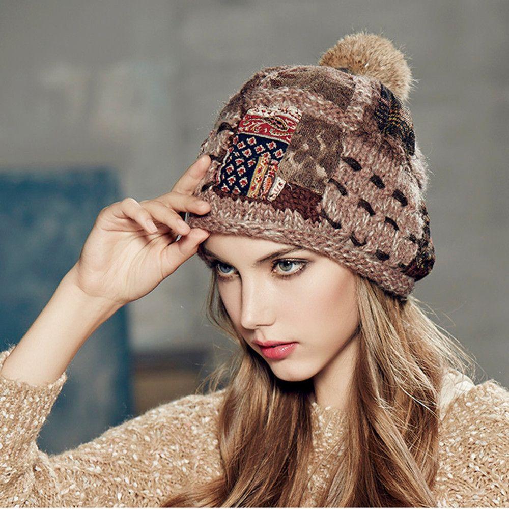 ac3bf8bb97d Kenmont Autumn Winter Warm Women Girl Lady Jacquard Hand Knit Beanie Cap  Rabbit Fur Hair Ball Outdoor Ski Cap 1635