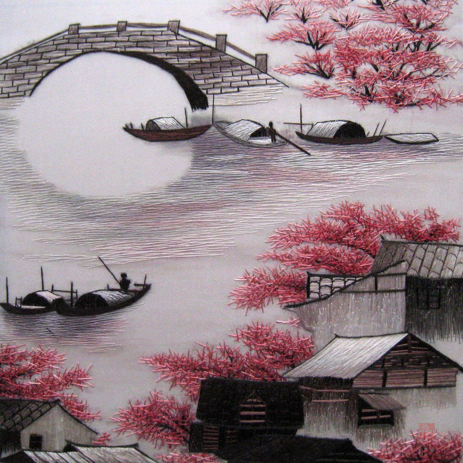 Amazon Com King Silk Art 100 Handmade Embroidery Mixed Group Large Framed Ancient Retro House Chinese Landscape Painting Japanese Painting Chinese Landscape