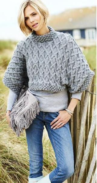 16824b991 Free Knitting Pattern for Aran Chunky Tee -  ad Cropped pullover sweater  constructed in two pieces with all over cable pattern and funnel neck in  trinity ...