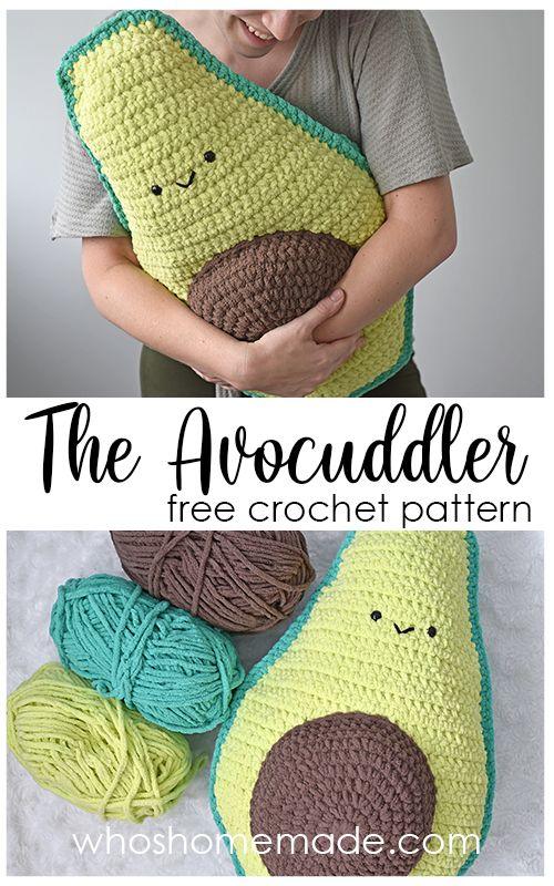 Avocuddler - Avocado Pillow Free Crochet Pattern