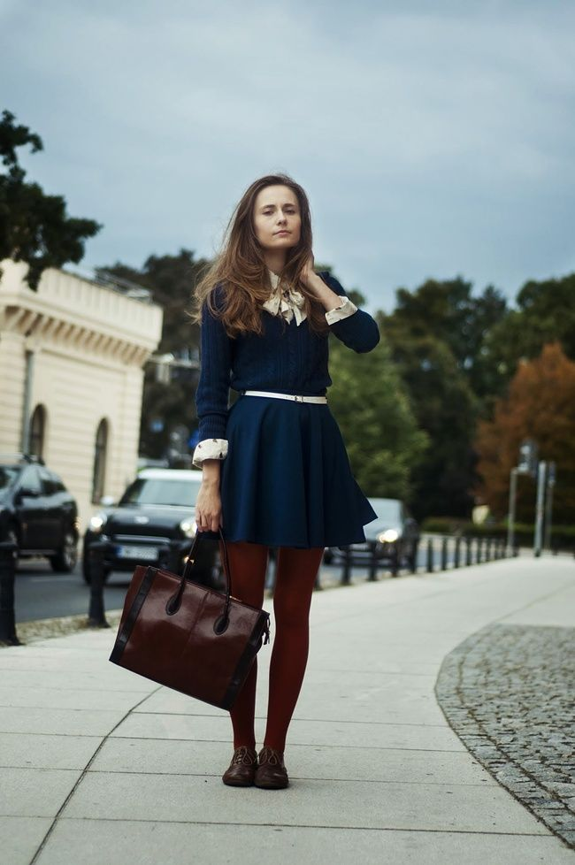Burgundy Opaque Tights And Navy Blue College Girl Dress In