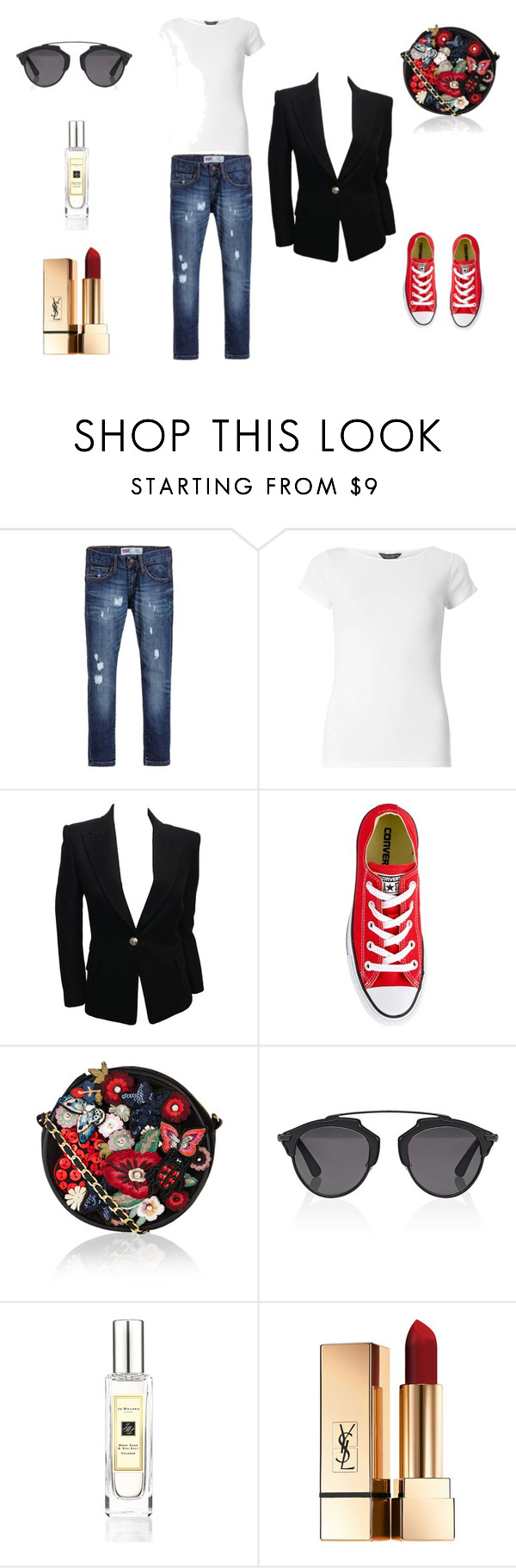 """""""free as a bird"""" by janka-dzurillova on Polyvore featuring Levi's, Dorothy Perkins, Balmain, Converse, Accessorize, Christian Dior and Jo Malone"""