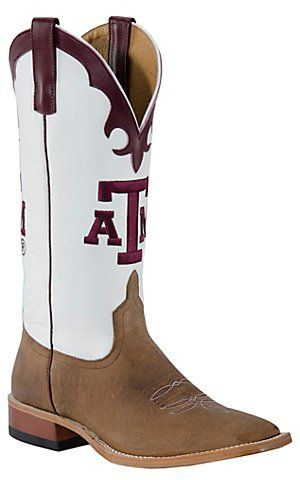 4d346f7e06f Mens Toast Brown w/ White Top & Maroon A&M Square Toe Collegiate ...