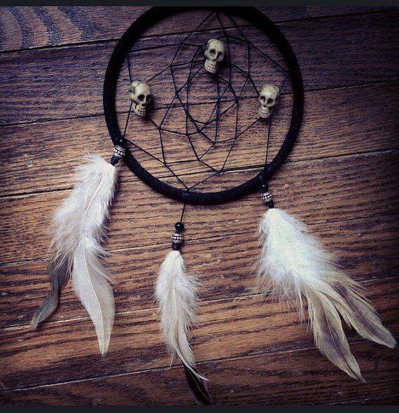 Skulls and White Feathers Dreamcatcher by KRUELINTENTIONS on Etsy #boho #tribal #native