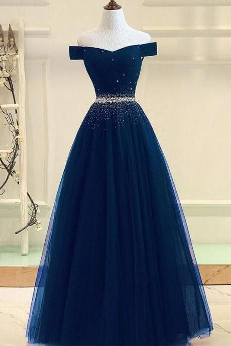 Tulle Prom Dress,Beading Prom Dress,off Shoulder L