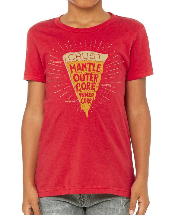 36d2387bc15 Earth Pizza Crust Geology Youth Tee Shirt