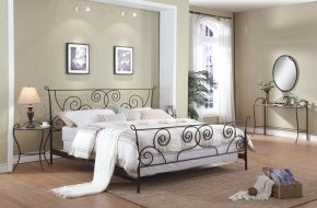 Chintaly Metal King Bed Headboard, Footboard, Bed Rails, and Slats
