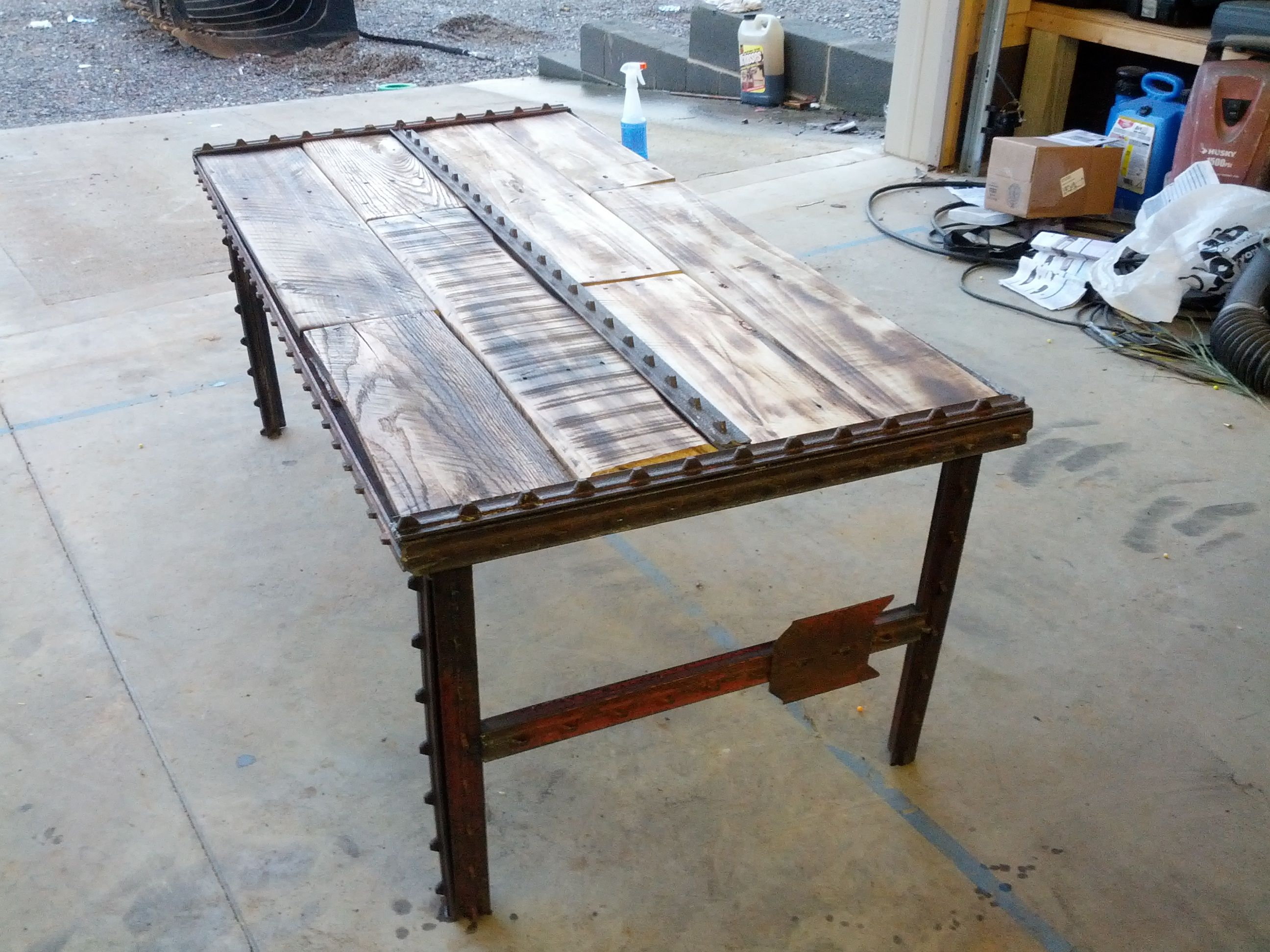 Hand made reclaimed pallet and fence post coffee table