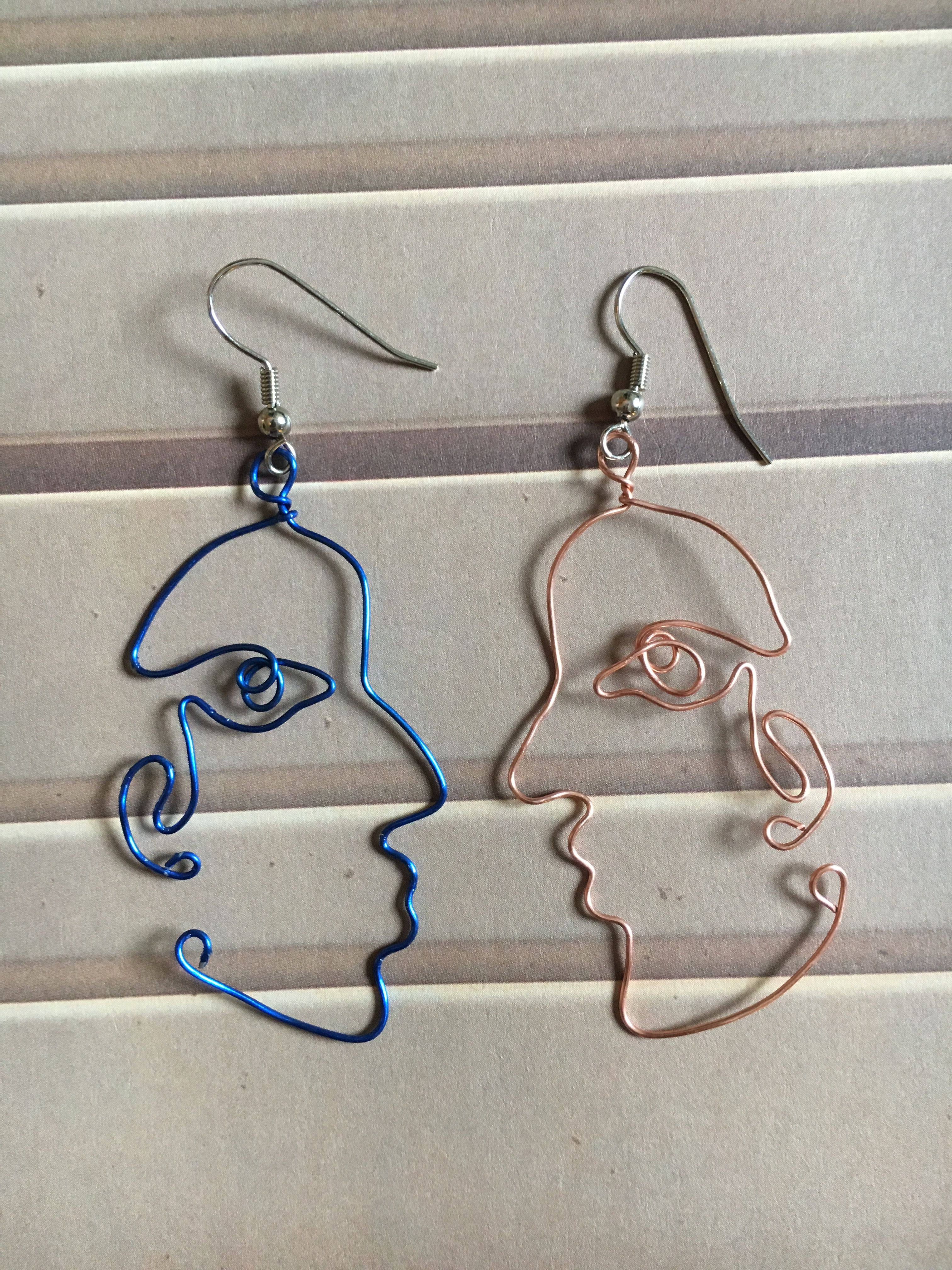 Abstract Face Wire Earrings Art Dangly