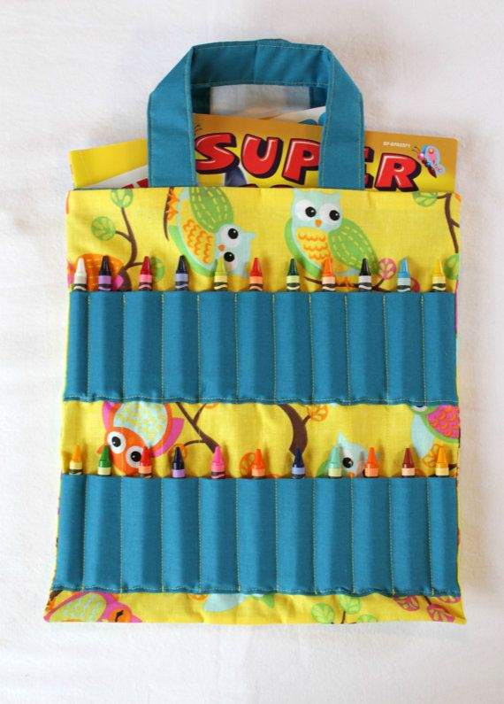 owl pattern coloring book and crayon holder by shoppebylola 2000 - Coloring Book And Crayon Holder