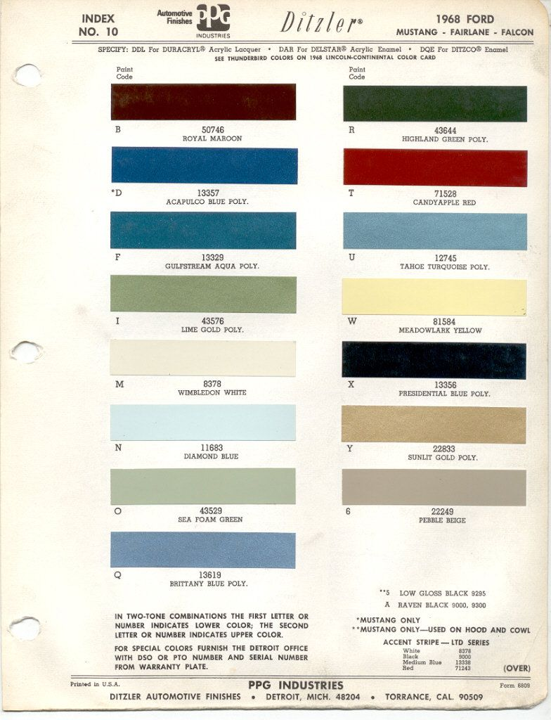 Paint chips 1968 ford mustang torino truck line using highland green poly aka bullit green s for coder paint43644