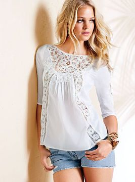 Cotton Crochet-trim Blouse on shopstyle.com