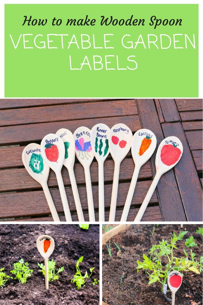 How To Make Wooden Spoon Vegetable Garden Labels With Thimble And Twig Childrens Gardens Creative Ideas For Children