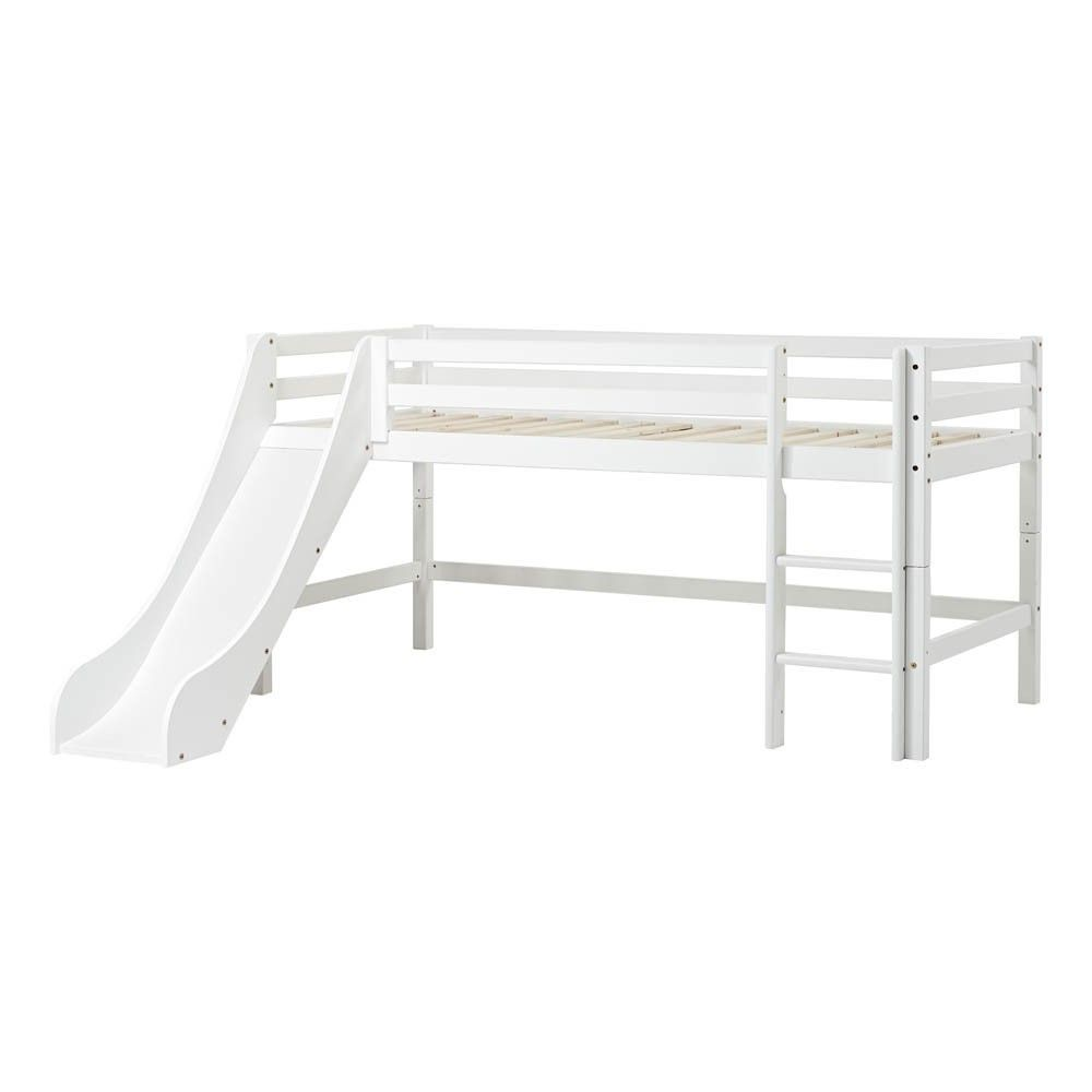 lit mezzanine bas basic avec chelle et toboggan 90x200 cm blanc hoppekids mobilier. Black Bedroom Furniture Sets. Home Design Ideas