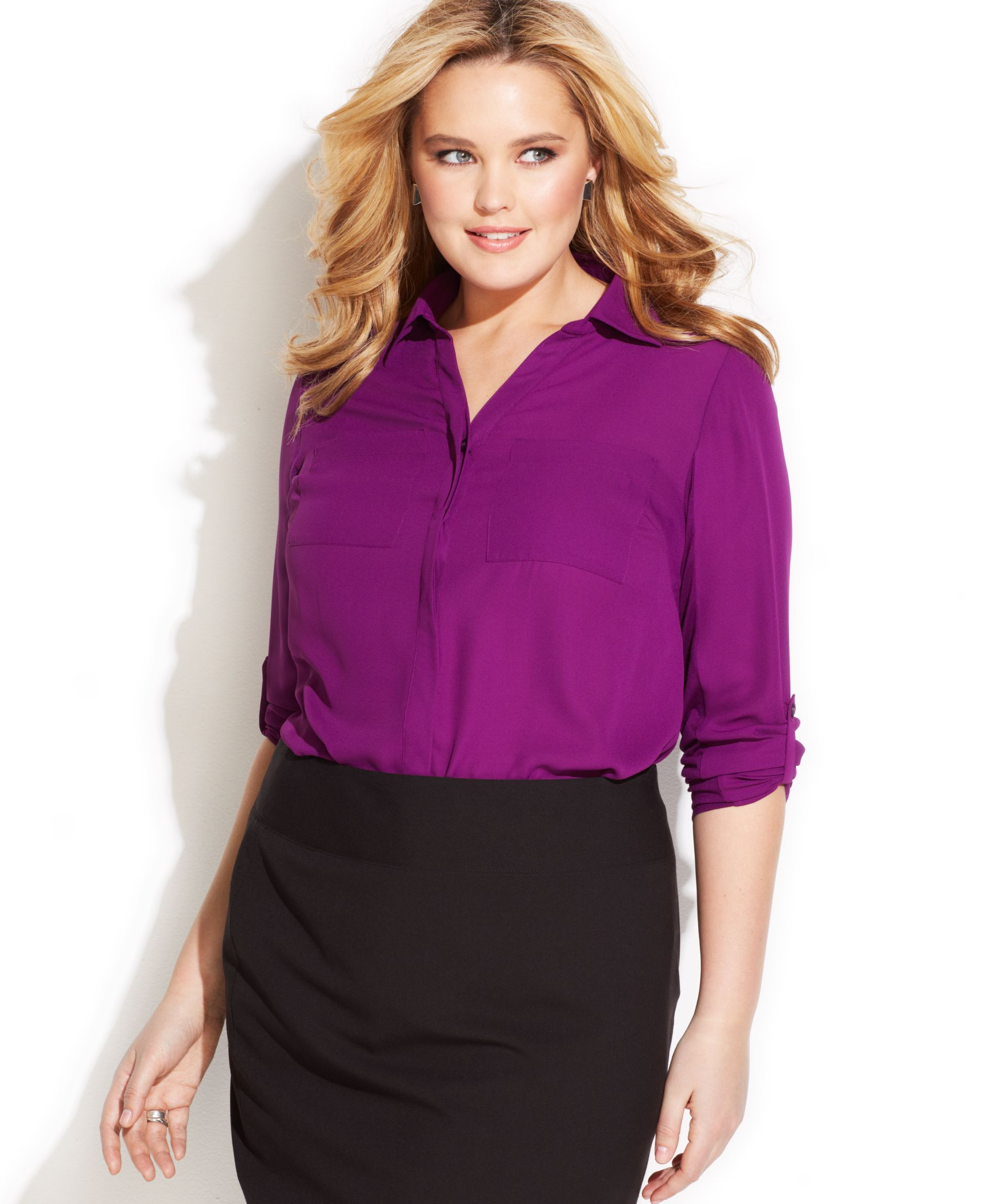 INC International Concepts Plus Size Woven-Front Shirt | Sexy ...