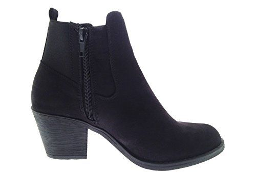 WOMENS CUT OUT ANKLE BOOTS LOW MID BLOCK HEELS BUCKLE LADIES GIRLS SHOES CHELSEA STRAP BLACK UK 3-8