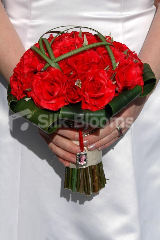 Elegant Red Real Touch Rose Bridal Bouquet W Orchid Leaves