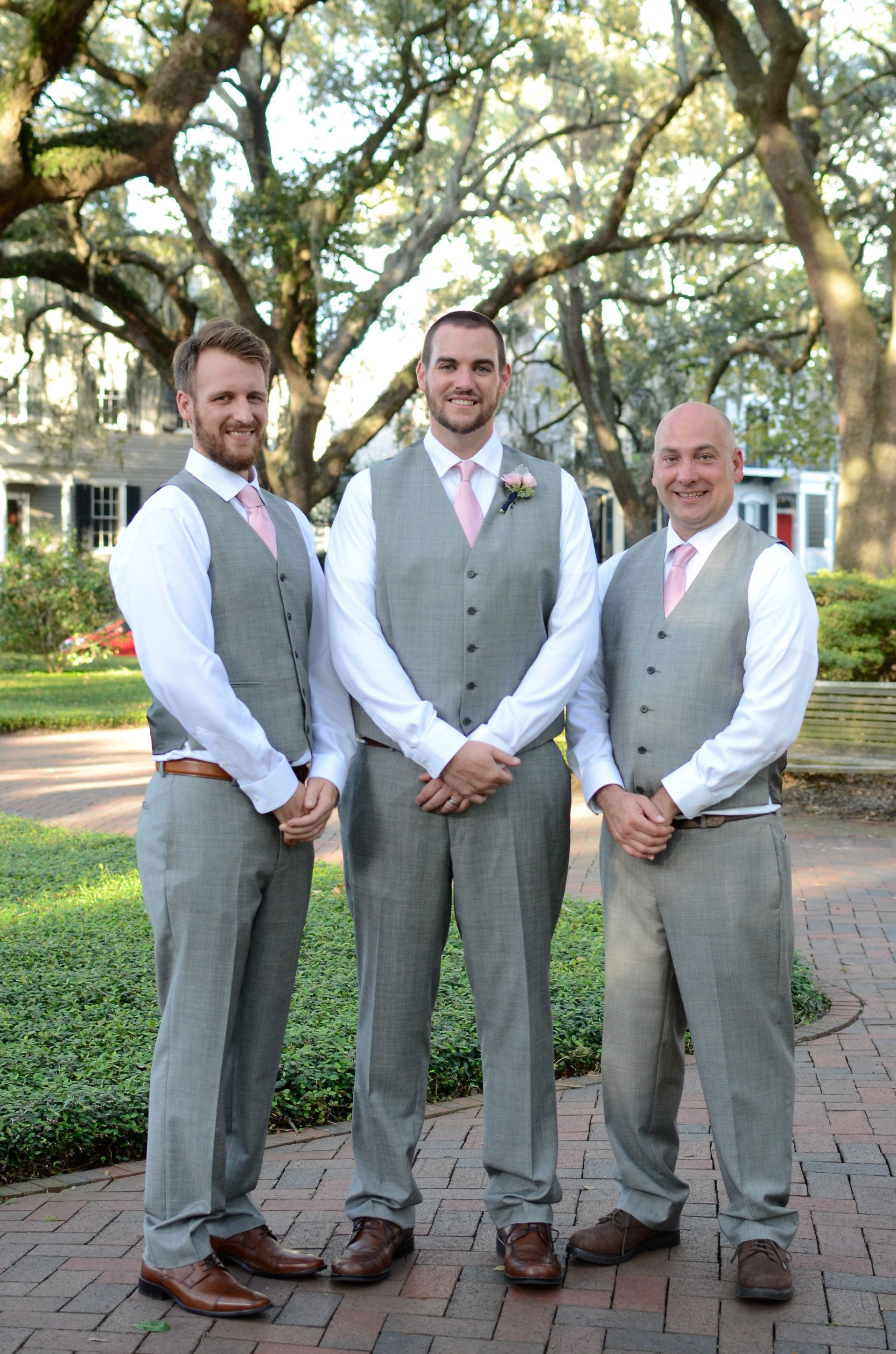 27420a717e03 Groomsmen fashion, pastel pink tie, gray vests // Leeann Ritch Photography