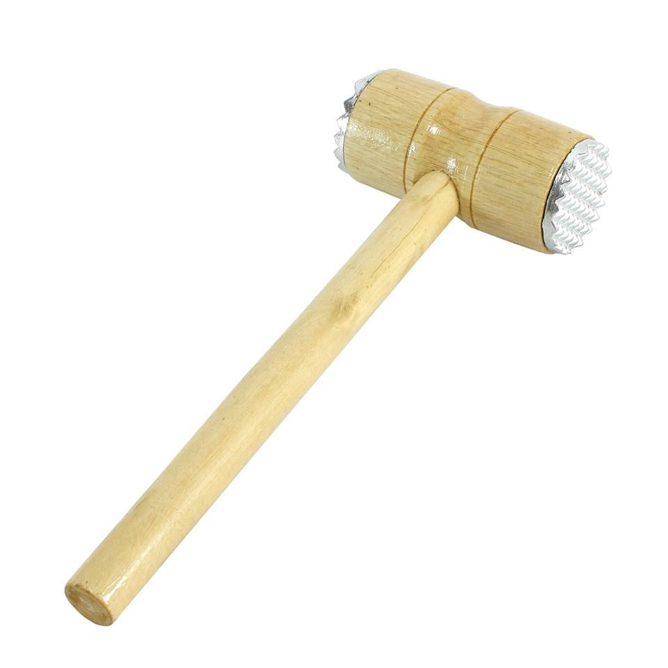 Details About Wooden Meat Hammer Metal Dual Teeth Beater Masher Beef