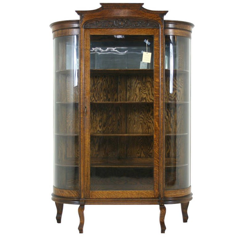 Antique American Tiger Oak Bow Front China, Display, Curio Cabinet - Antique American Tiger Oak Bow Front China, Display, Curio Cabinet