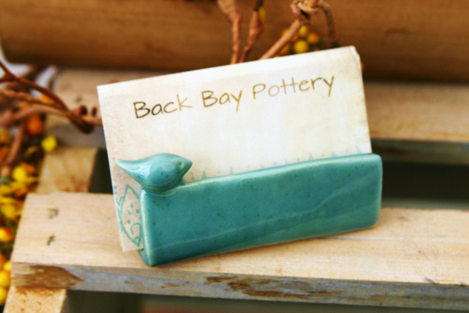 Blue Bird Ceramic Business Card Holder - Robins Egg - French Country ...