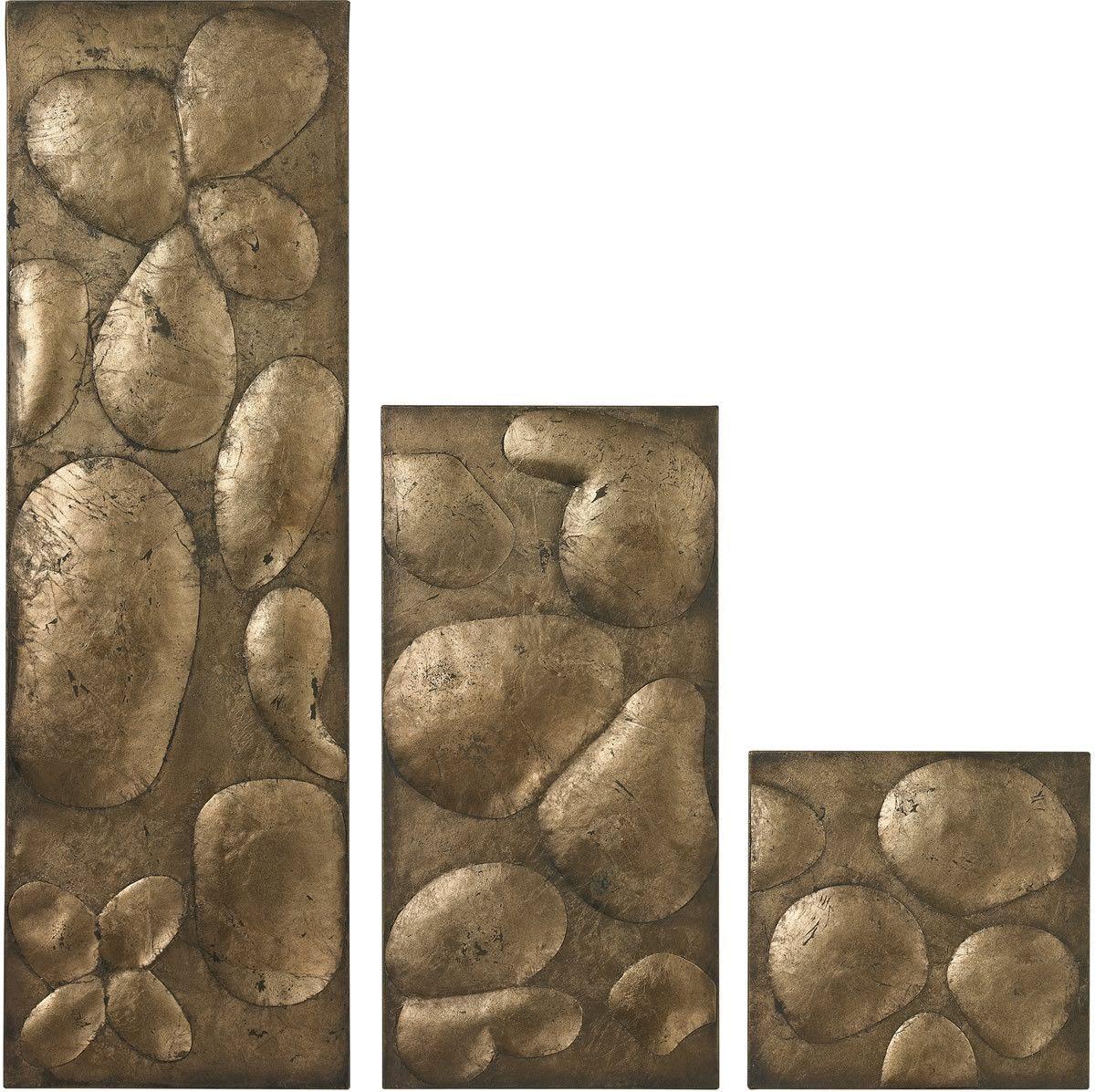 "0-014198>32""""h Set of 3 Wall Panels in Gold Leaf Antique Gold"