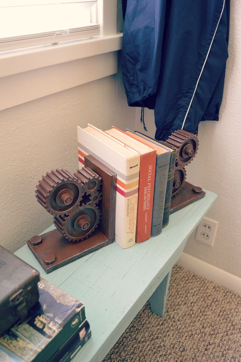 eclectic teen boy bedroom makeover industrial rustic gear book ends