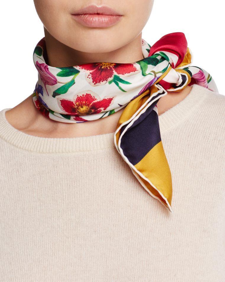 4f17bb7ec012c Salvatore Ferragamo Floral Bouquet Silk Square Scarf | Silk scarves ...