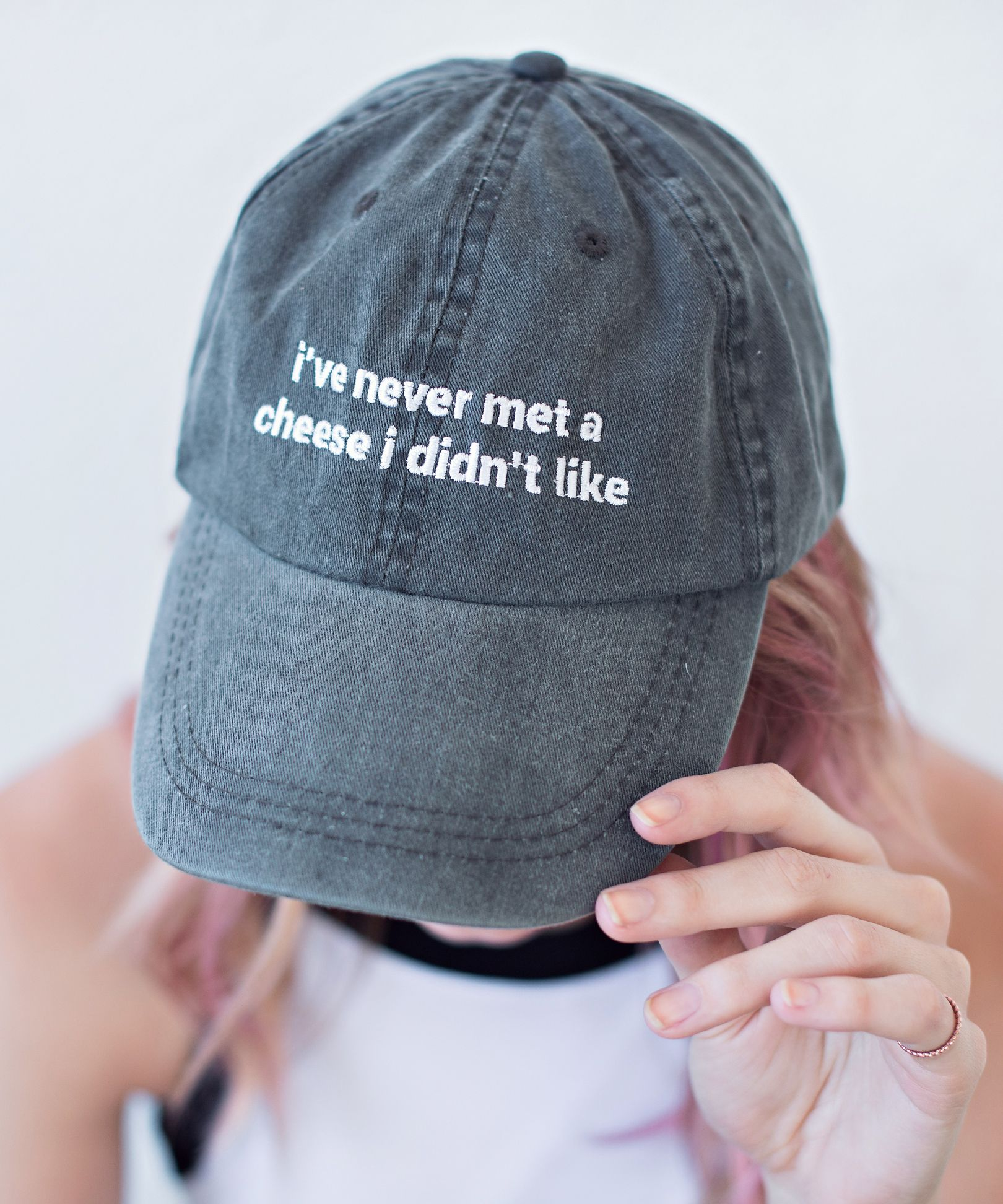 02f77fd9 I've never met a cheese I didn't like. The dad hat just got way cooler. If  you like UNIF and DollsKill, you'll love Jac Vanek.