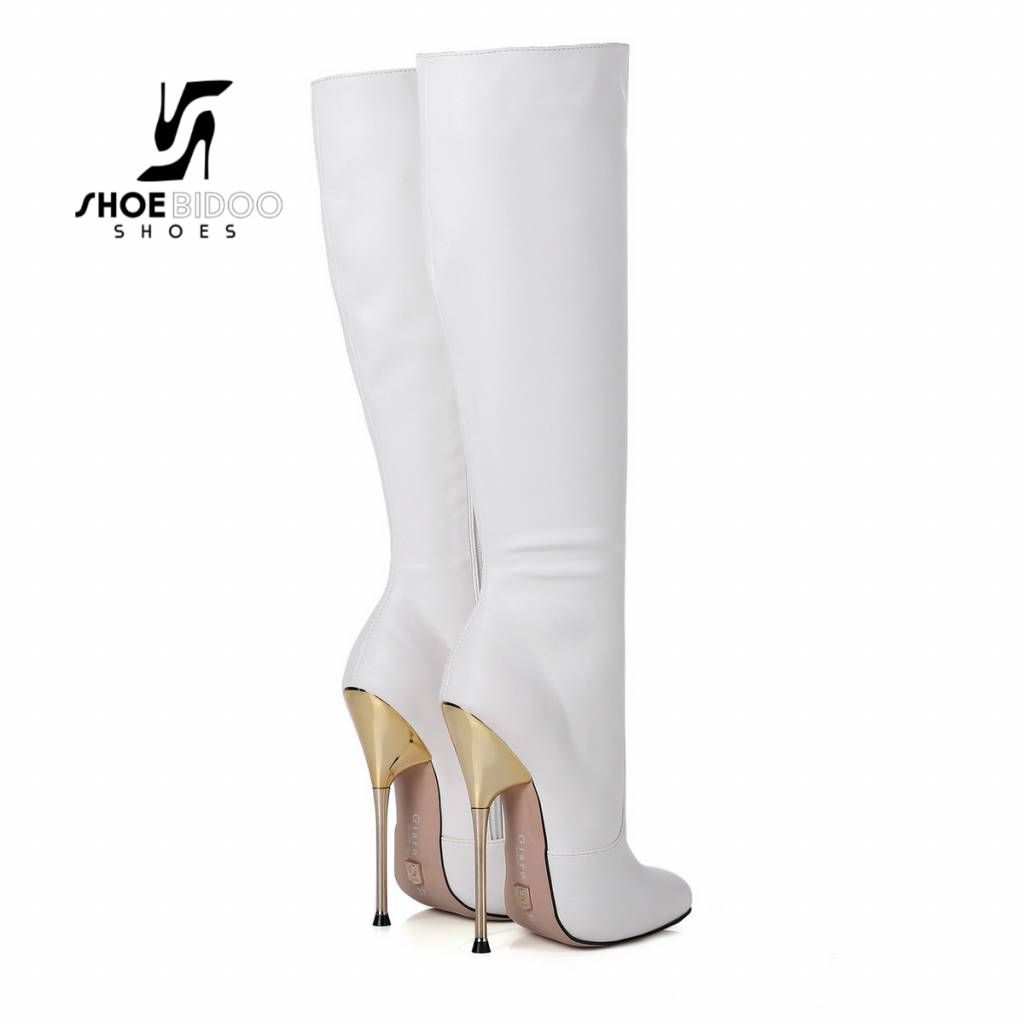 5b590b00f62 Giaro White knee boots with ultra high silver metal heels in 2019 ...