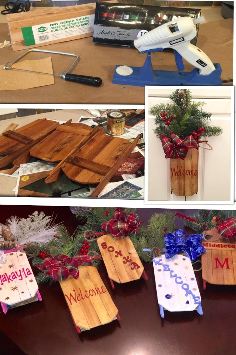 Mini decorative sleds made from wood shims
