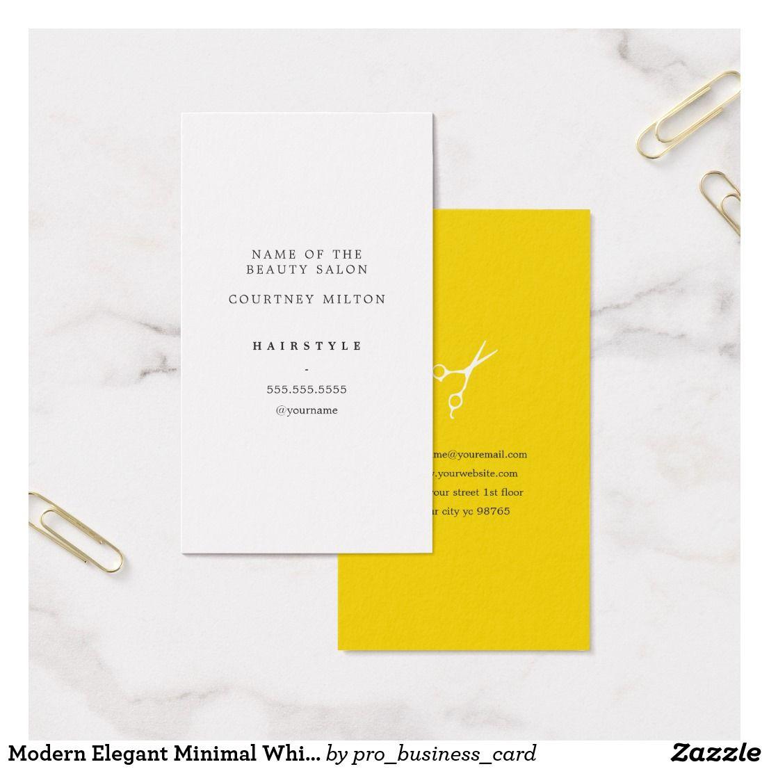 Modern Elegant Minimal White Yellow Hair Stylist Business Card ...