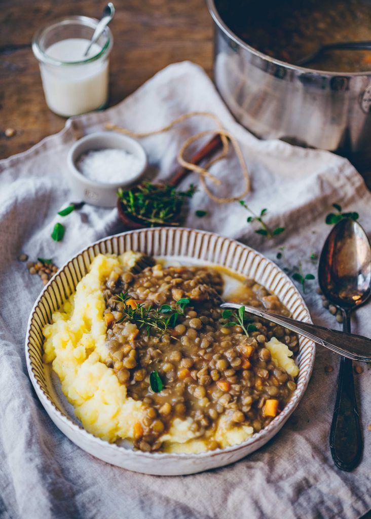 Linsen mit Kartoffelpüree | cremig & vegan - Klara`s Life