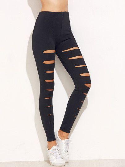 Shop Black Ripped Skinny Leggings online. SheIn offers Black Ripped Skinny  Leggings   more to fit your fashionable needs. 9c25043be19